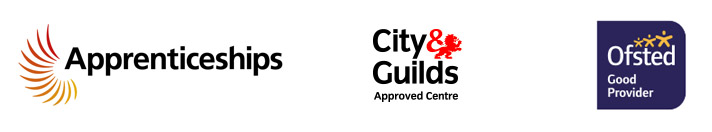 Apprenticeships, City & Guilds and Ofsted logos